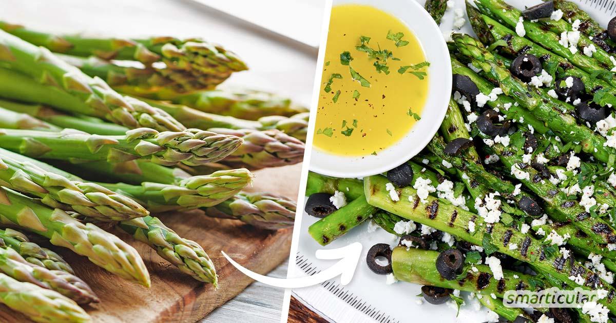 Grüner Spargel ist genauso vielseitig verwendbar wie weißer. Mit diesen Rezepten für grünen Spargel lässt sich das Gemüse einfach und trotzdem pfiffig zubereiten.