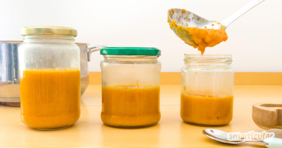 Mit diesemm Grundrezept für Babybrei, der leicht vorgekocht, eingefroren und bei Bedarf spontan abgewandelt werden kann, wird das Selberkochen zum Kinderspiel.