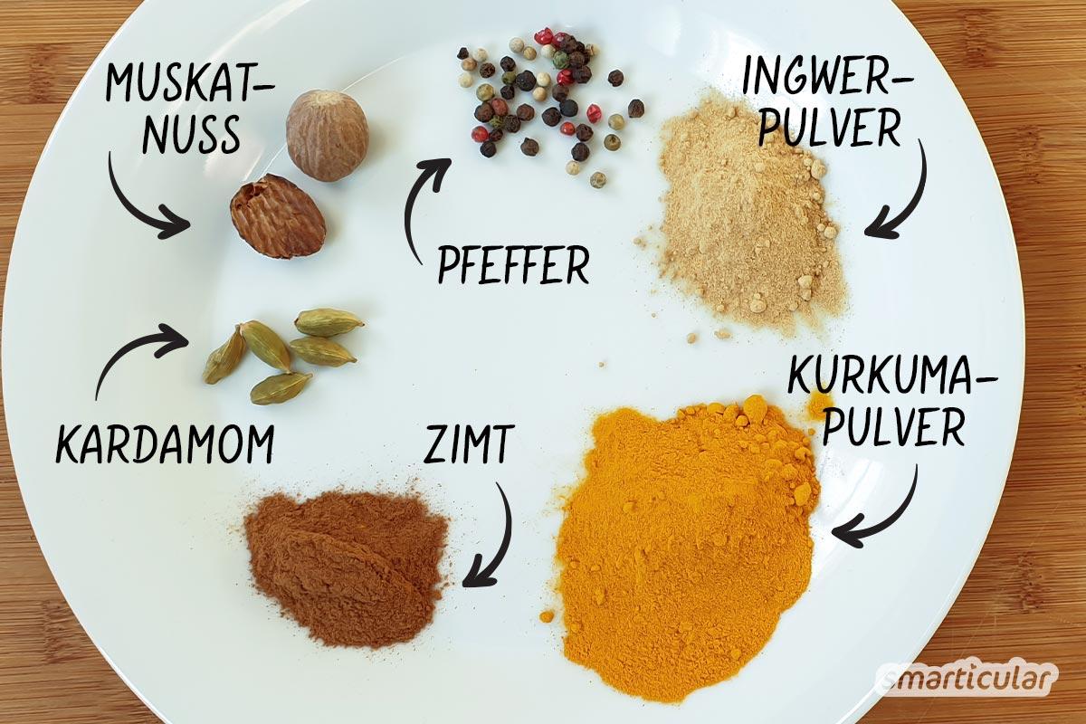 Mit selbst gemachtem Kurkuma-Latte-Pulver ist die heilsame Goldene Milch im Handumdrehen hergestellt - gesunder Frischekick am Morgen oder für zwischendurch.