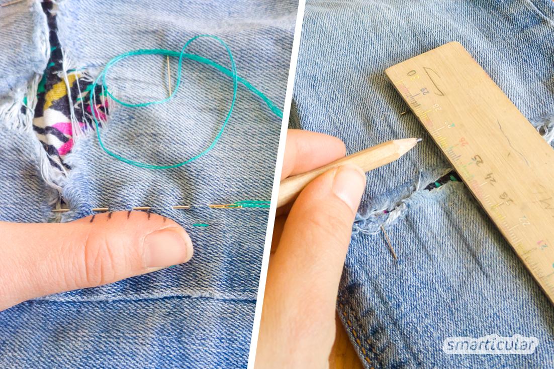 Löcher stopfen in schön? Mit diesen Techniken werden Löcher, Risse oder Flecken per Hand repariert beziehungsweise überdeckt - auffällig, bunt und schön!