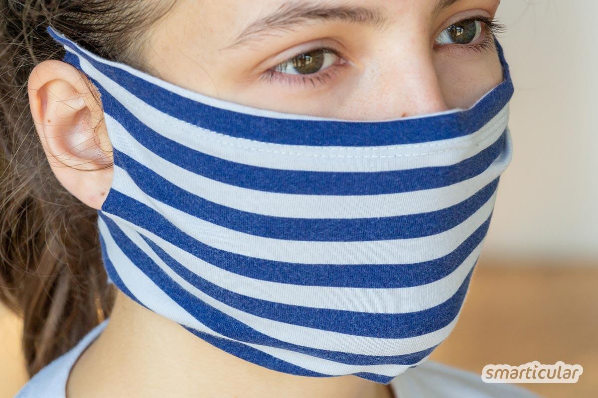 Wenn schnell ein Mundschutz notwendig ist, kannst du in zwei Minuten ohne Nähen aus einem alten T-Shirt eine Schutzmaske selber machen.
