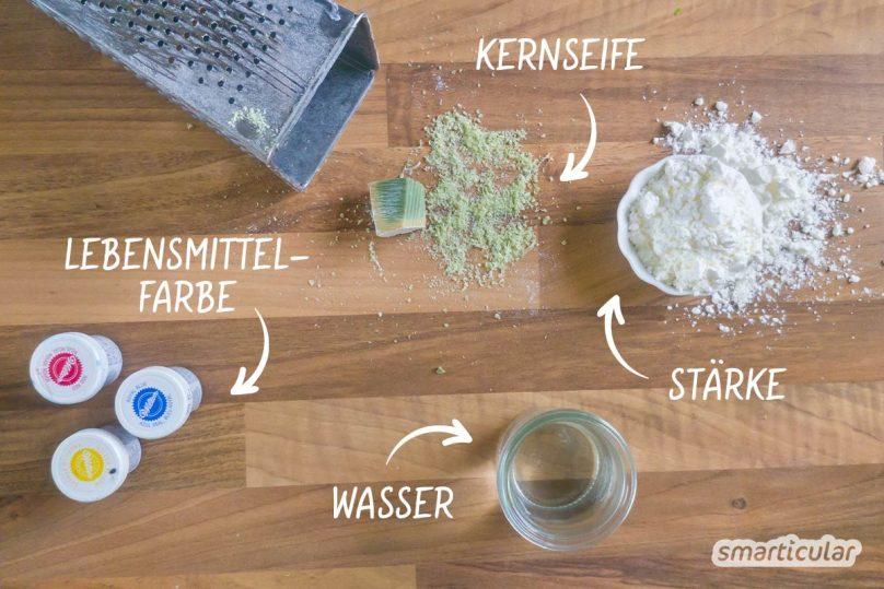 Schleim selber machen gelingt auch ohne Kleber oder Rasierschaum. Für dieses Rezept benötigst du nur drei einfache, ungiftige Zutaten.