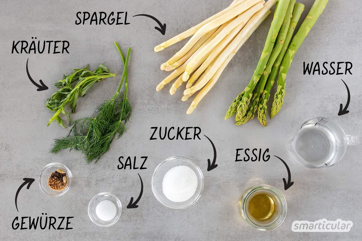 Dieses Rezept für eingelegten Spargel ist die Lösung für Spargelfans. Damit lässt sich das gesunde Gemüse haltbar machen und das ganze Jahr über genießen.