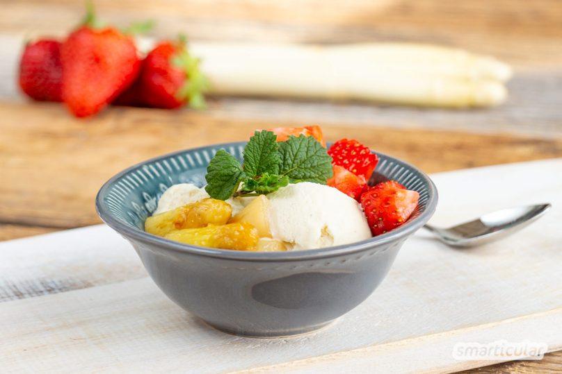 Spargel lässt sich auch mal anders genießen, statt ihn klassisch zuzubereiten - einfach und originell überbacken, mariniert oder in einem leicht süßen Dessert.