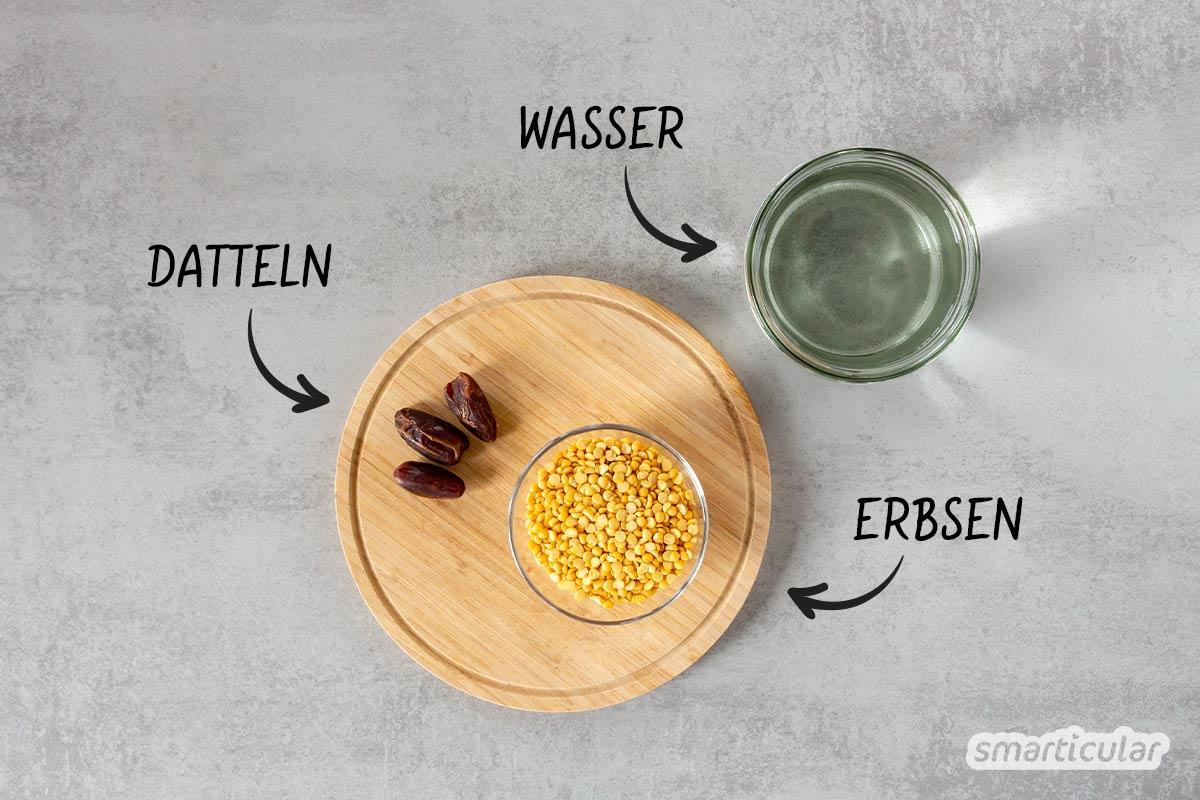 Erbsenmilch ist eine proteinreiche sowie lactose- und glutenfreie Alternative zu Kuhmilch. Mit diesem einfachen Rezept kannst du Erbsenmilch selber machen.
