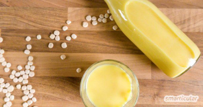 Lupinensamen sind sehr protein- und mineralstoffreich - mit ein bisschen Geduld lässt sich aus den Kernen der regionalen Süßlupine leicht Lupinenmilch selber machen.