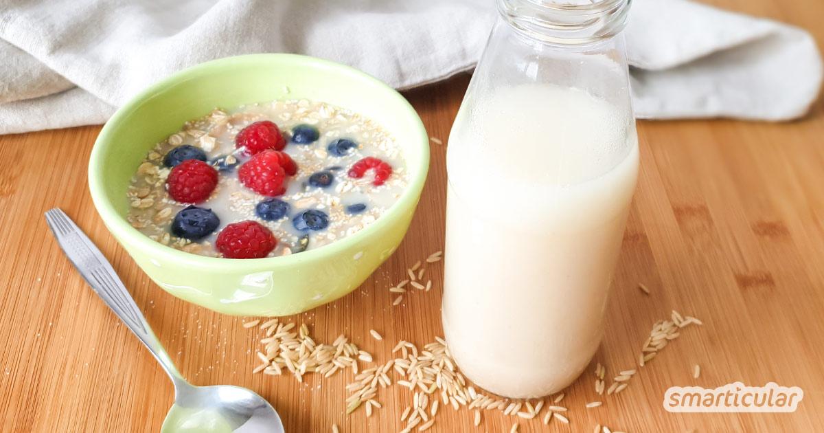 Reismilch oder Reisdrink ist eine gute Alternative zu Kuhmilch. Sie ersetzt Milch beim Kochen und Backen und ist zudem vegan, laktosefrei und glutenfrei.