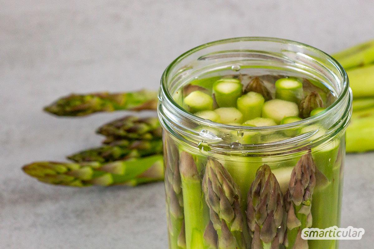 Spargel einkochen oder auch einwecken ist eine einfache Methode, das saisonale und gesunde Gemüse fürs ganze Jahr haltbar zu machen.