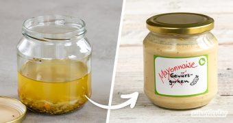 Das Glas Gewürzgurken ist schon wieder leer? Dann mach doch einfach vegane Blitzmayonnaise draus! Dafür brauchst du außer Gurkenwasser nur eine weitere Zutat.