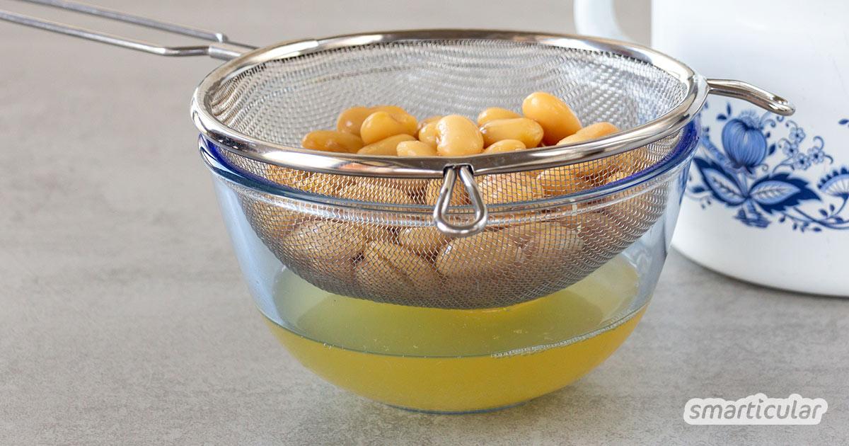 Bohnenwasser, das Kochwasser von weißen, roten und schwarzen Bohnen, lässt sich wie Kichererbsenwasser für viele Gerichte weiterverwenden.