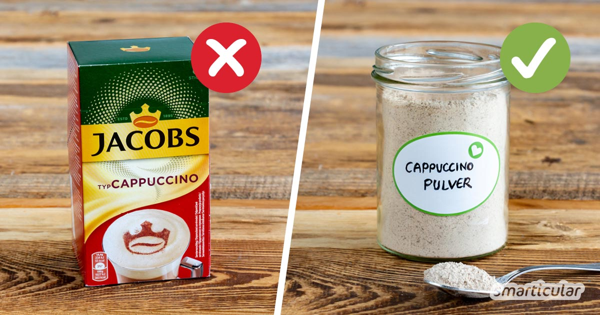 Statt Instantpulver mit fragwürdigen Zusatzstoffen und zu viel Zucker zu kaufen, kannst du Cappuccinopulver selber machen - auf Wunsch auch vegan.