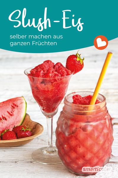 Das grellbunte, zuckersüße Slush-Eisgetränk ist vor allem bei Kindern sehr beliebt. Genauso köstlich, aber viel gesünder, kannst du Slush-Eis einfach selber machen.