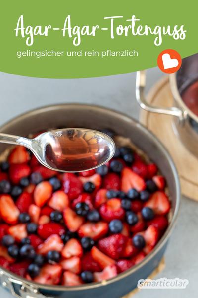 Ein Tortenguss mit Agar-Agar ist eine gelingsichere Alternative zu herkömmlichem Guss aus Gelatine und lässt sich zudem leicht variieren.