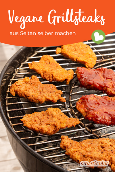 Grillen ohne Fleisch wird mit veganen Steaks zum deftigen Genuss. Statt ein Fertigprodukt zu kaufen, kannst du die Fleischalternative leicht selber machen.