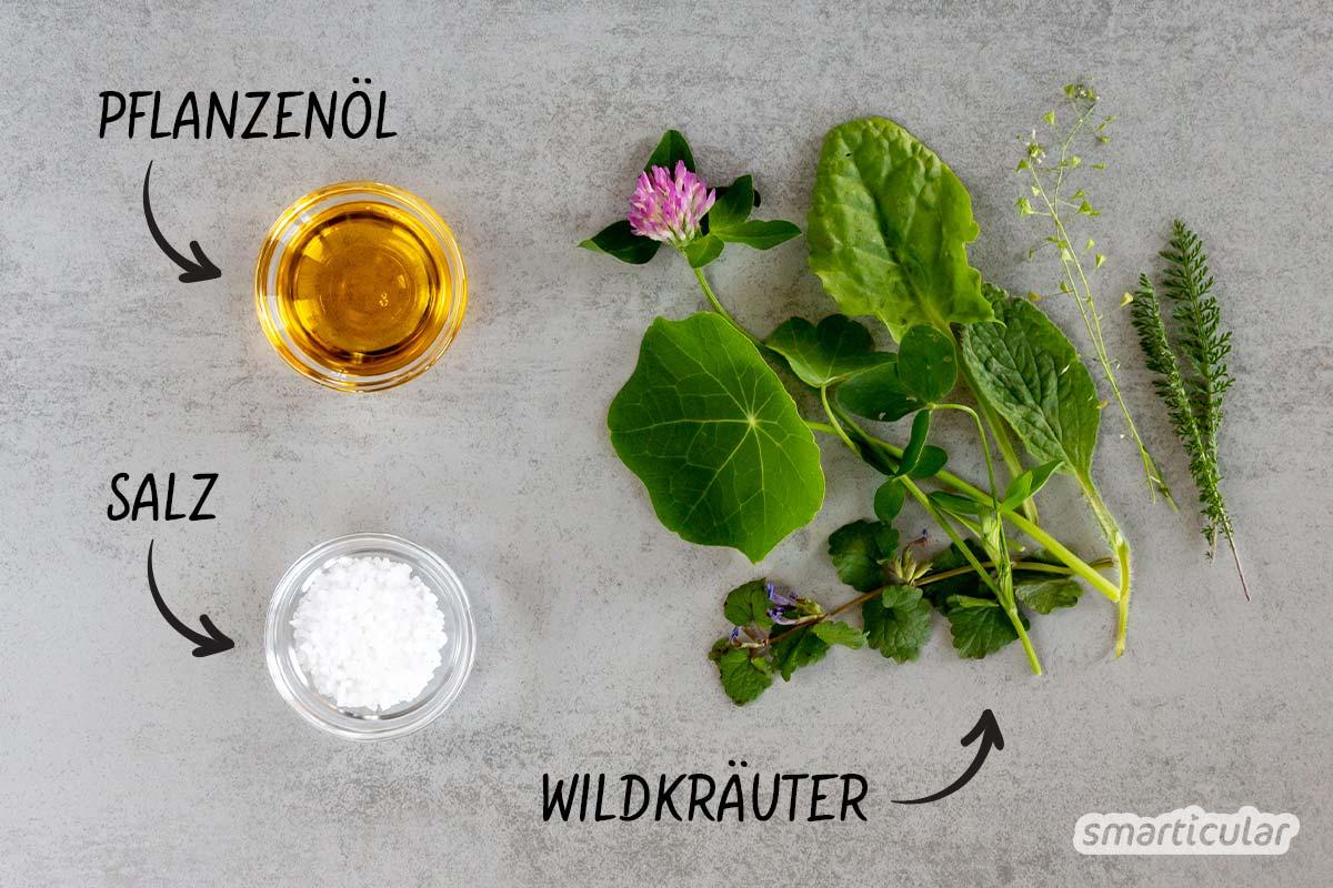 Wildkräuter sind reich an Vitalstoffen und fast überall kostenlos verfügbar. Mit einer selbst gemachten Wildkräuter-Würzpaste hast du das ganze Jahr lang etwas davon!