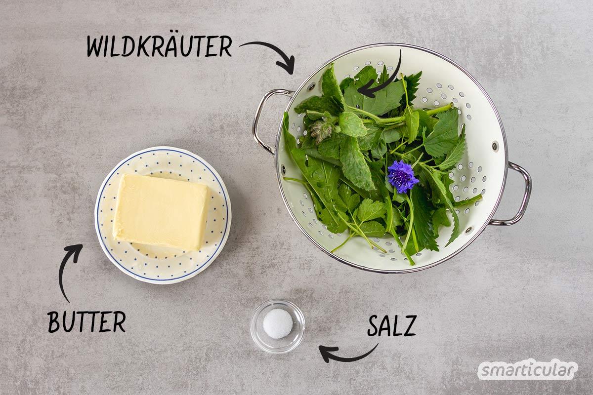 Mit zahlreichen Wildpflanzen lässt sich eine köstliche Wildkräuterbutter selber machen, die du beliebig abwandeln kannst - je nachdem, was die Natur gerade bereithält.