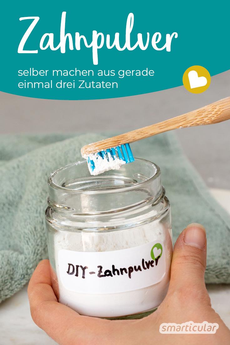 Aus drei natürlichen Zutaten kann man plastikfreies Zahnpulver selber machen – so effektiv wie Zahnputztabletten und einsatzbereit in zwei Minuten!
