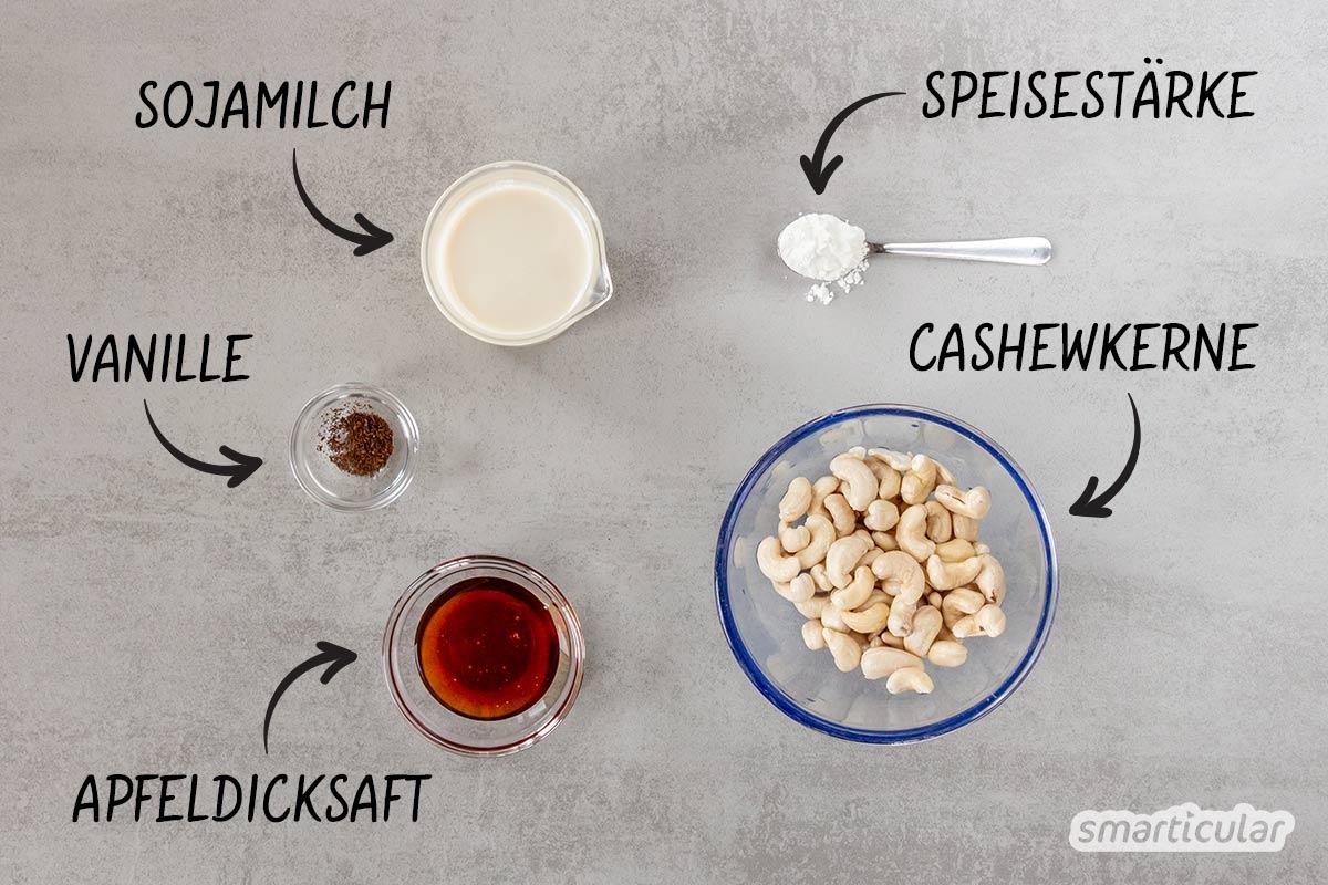 Veganes Vanilleeis selber zu machen, ist kein Hexenwerk. Mit diesem Rezept für Cashew-Eis gelingt der eiskalte Genuss im Nu - auch ohne Eismaschine!