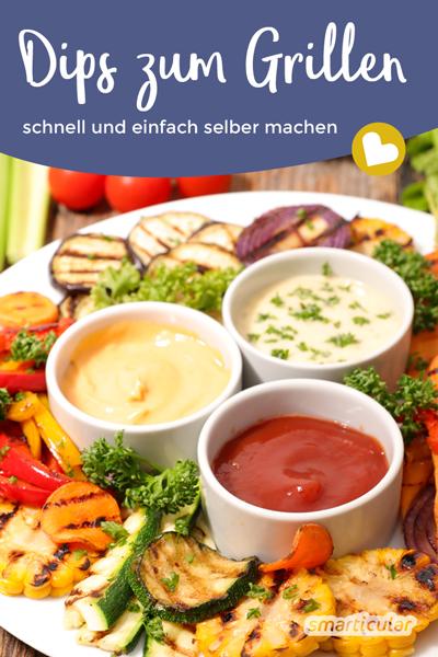 Dips für Grillgemüse, Backkartoffeln und Bratwurst lassen sich schnell und einfach selbst zubereiten. Das spart Geld und Müll, und die Dips lassen sich je nach Geschmack abwandeln.