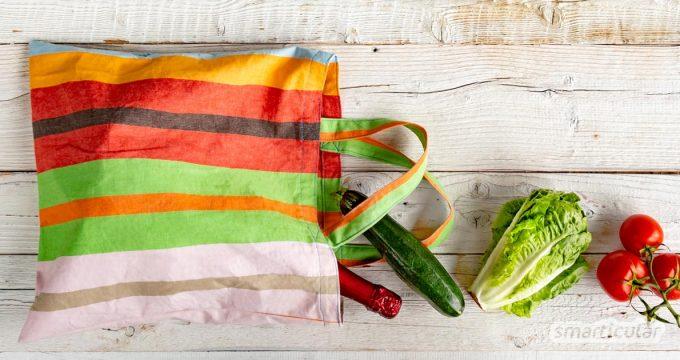 Mit einer selbst genähten Einkaufstasche kannst du Stoffreste upcyceln und auf unnötige Plastiktüten für deine Einkäufe verzichten.