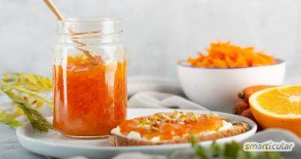 Mit selbst gemachter Karottenmarmelade können größere Mengen Mohrrüben köstlich und originell verarbeitet werden.