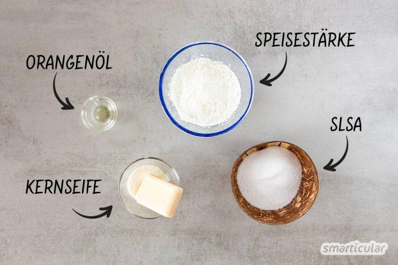 Ein festes Spülmittel lässt sich aus Hausmitteln einfach selber machen und ersetzt handelsübliches Spülmittel aus der Plastikflasche.