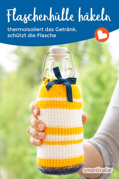 Mit einer Hülle ist deine Trinkflasche vor Stößen geschützt, und das Getränk bleibt schön warm bzw. kalt. So leicht kannst du dir eine Flaschenhülle häkeln!