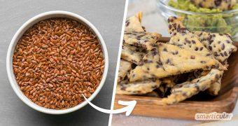 Leinsamen-Cracker aus Trester von Leinsamen schmecken lecker als Salzgebäck! So verwertest du sinnvoll die Leinsamen aus der Produktion von Leinsamengel.