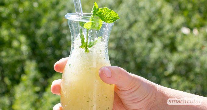 Erfrischender Zitrus-Ingwer-Slush statt zuckrige Brause: Mit diesem einfachen Rezept aus vier Zutaten erfrischst du dich gesund und lecker.