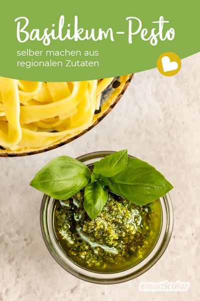 Basilikum-Pesto selber zu machen, ist kinderleicht und auch mit ausschließlich regionalen Zutaten möglich - zum Beispiel mit diesem Grundrezept mit nur fünf Zutaten.