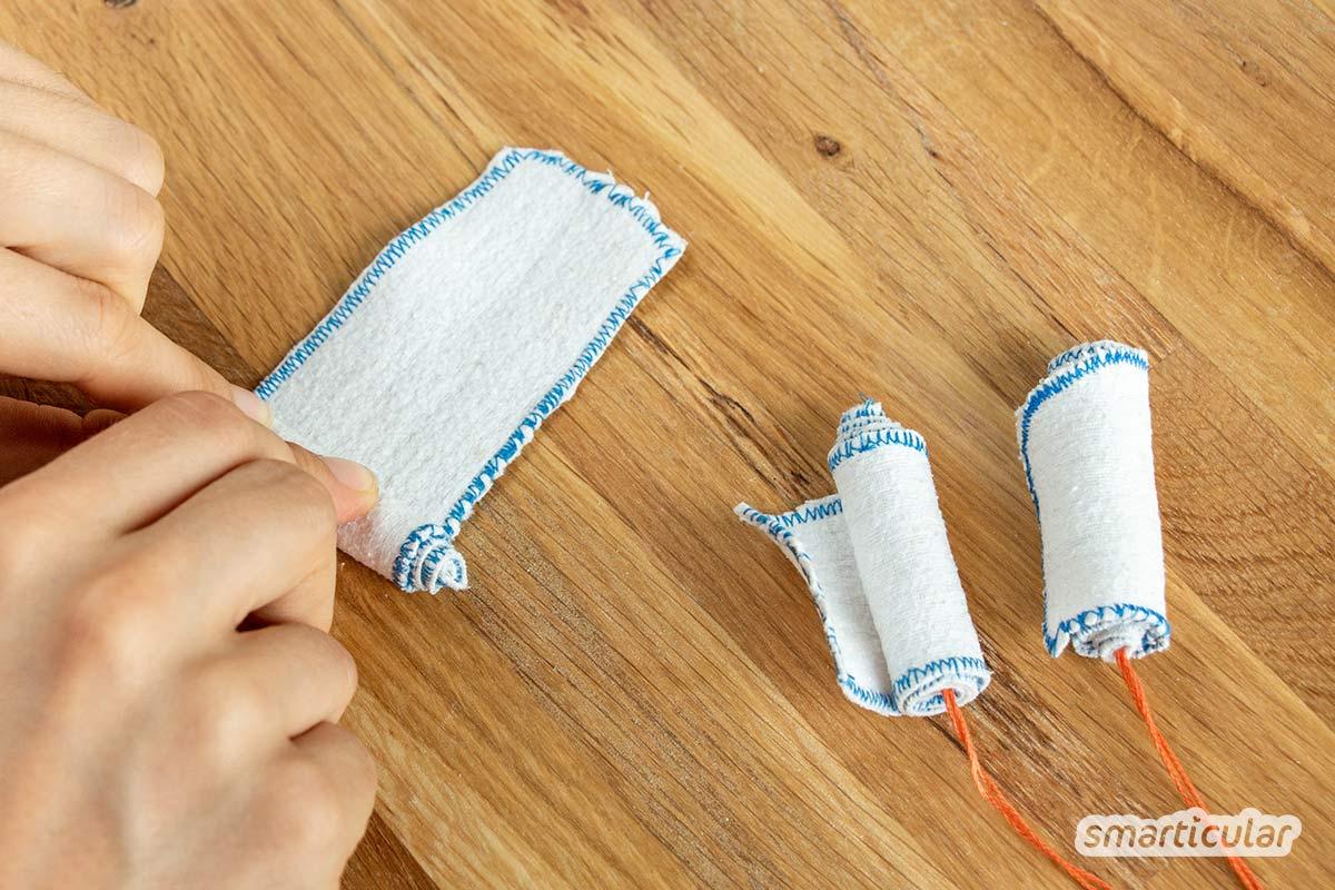 Wer einmal an Tampons gewöhnt ist und eine waschbare Alternative sucht, findet in Stofftampons eventuell die Lösung. Mit dieser Nähanleitung für DIY-Tampons werden die Tage müllfrei!