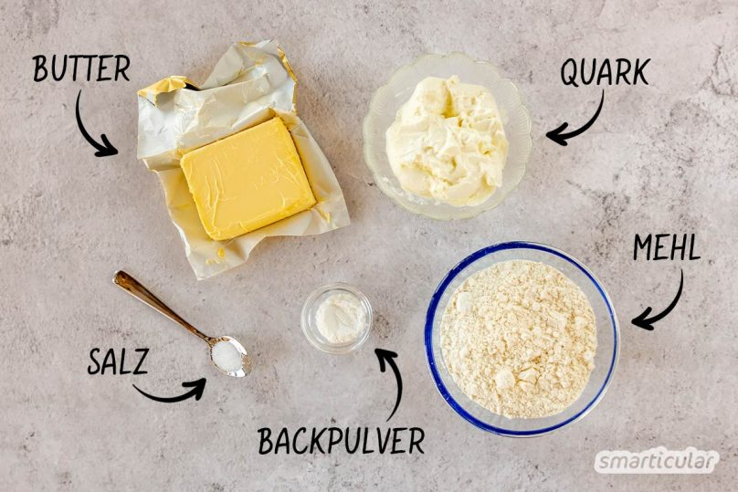Quark-Blätterteig ersetzt herkömmlichen Blätterteig in süßen und herzhaften Rezepten und lässt sich sehr viel einfacher selber machen.