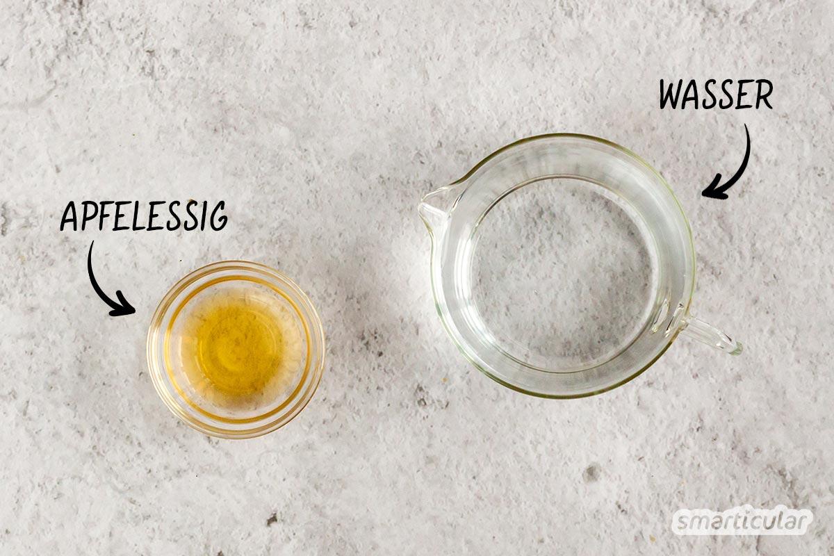 Eine saure Rinse mit Wasser und Essig ist eine ideale Ergänzung zu Haarseife, eignet sich aber auch sonst als natürliche Alternative zu herkömmlichem Conditioner.