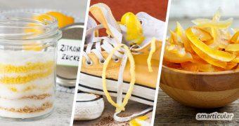 Zitronenschalen verwerten statt wegwerfen: Statt Zitronen nach dem Auspressen zu entsorgen, kannst du die Schale noch zu viel Nützlichem weiterverarbeiten.