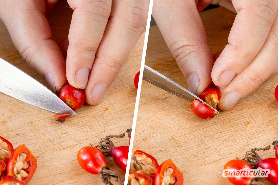 Hagebuttenessig selber zu machen, ist eine einfache Methode, die Früchte haltbar zu machen und dabei möglichst viele Vitalstoffe zu erhalten.