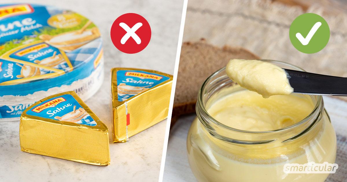 Statt das hochverarbeitete Fertigprodukt zu kaufen, kannst du Schmelzkäse einfach selber machen - aus naturbelassenem Käse und Milchprodukten.