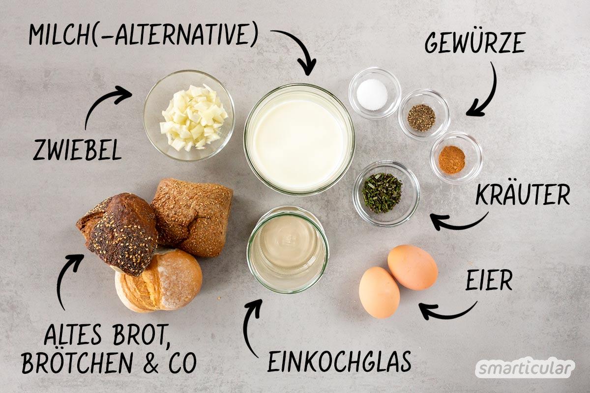 Knödel im Glas lassen sich einfach selber machen aus Brotresten. So entsteht ein Vorrat köstlicher Semmelknödel, mit denen altbackenes Brot verwertet wird.