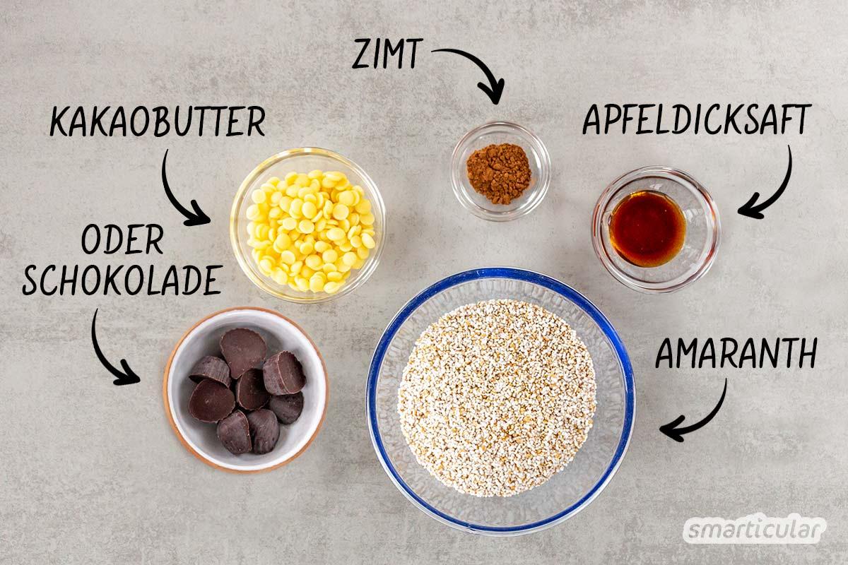 Amaranth-Kekse schmecken luftig leicht, sind vegan und glutenfrei. Der gesunde Snack passt perfekt in die jede Jahreszeit und gelingt ganz ohne Backen!