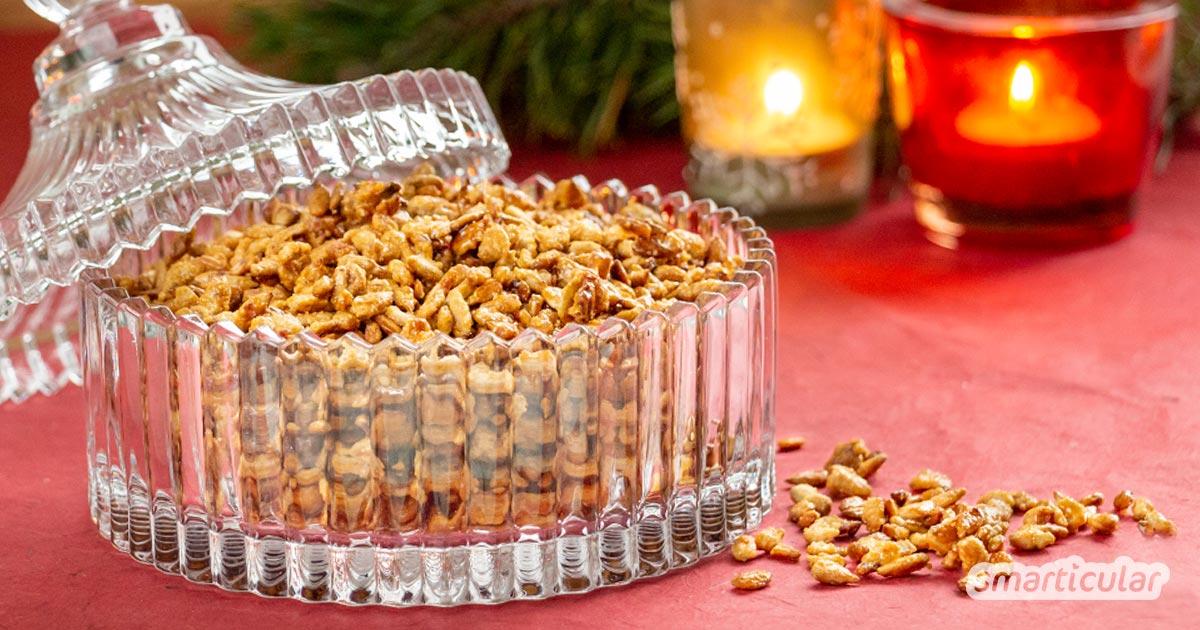 Gebrannte Sonnenblumenkerne sind eine köstliche, regionale Abwechslung zu gebrannten Mandeln. Mit diesem Rezept gelingen die karamellisierten Kerne ganz leicht.
