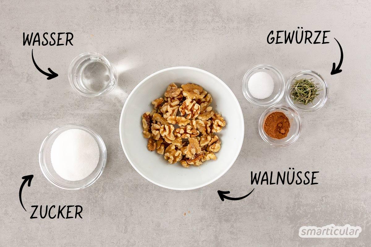 Gebrannte Walnüsse sind nicht nur eine köstliche Knabberei, sondern auch ein knuspriges Topping für Kuchen, Desserts oder Salate.