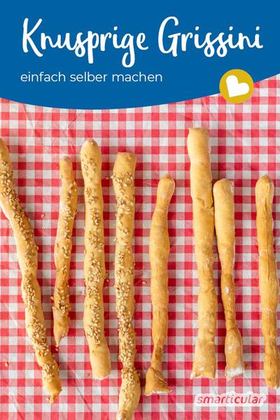 Mit diesem einfachen Grissini-Rezept gelingen die knusprigen Brotstangen garantiert! Sie lassen sich mit Gewürzen und Kräutern beliebig variieren.