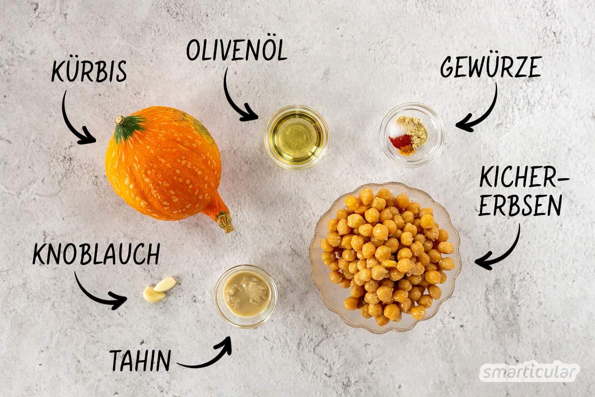 Herbstliches Kürbis-Hummus ist reich an Proteinen und Beta-Carotin und lässt sich im Handumdrehen selber machen.