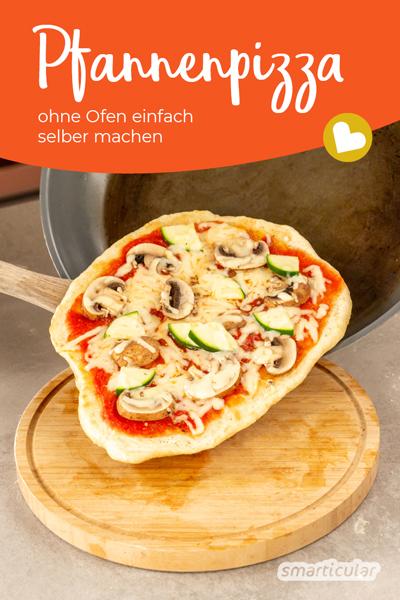 Pizza ohne Backofen? Diese Pfannenpizza gelingt auch ohne Backofen und verbraucht zudem weniger Energie - genau richtig für die schnelle Pizza fast wie vom Italiener!
