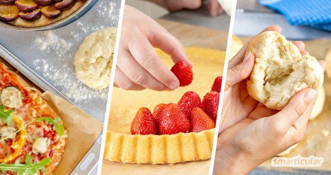 Schnelle Backrezepte für Eilige und Backanfänger: Hier findest du einfache und schnell umzusetzende Grundrezepte für Brötchen, Brot, Kuchen, Pizza und Co.
