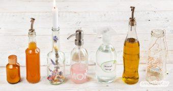 Upcycling mit Flaschen kann vielen Zwecken dienen! Du kannst aus Glasflaschen neue, dekorative Gegenstände oder praktische Behältnisse machen.
