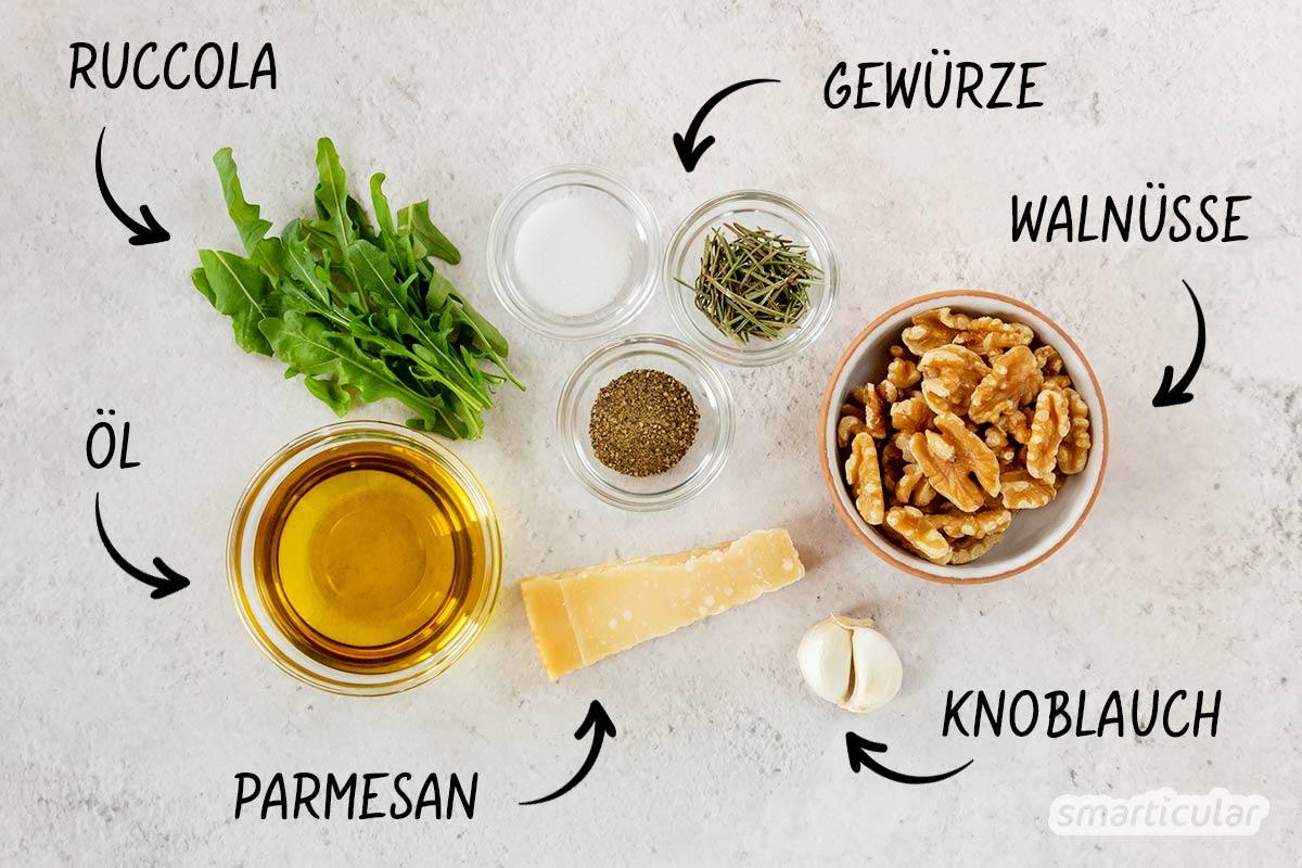 Ein Walnusspesto ist sehr einfach und schnell selber zu machen - für ein feines und aromatisches Geschmackserlebnis aus regionalen Nüssen!