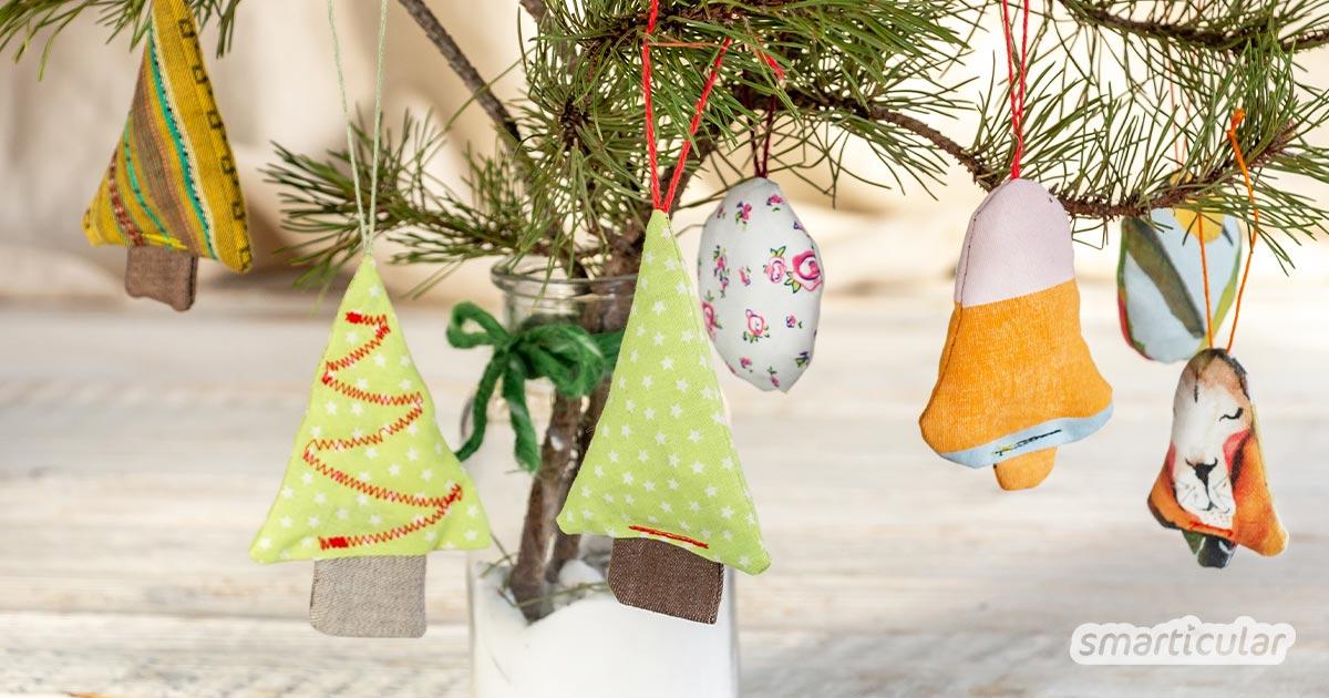 Christbaumschmuck zu nähen, gelingt bereits mit wenigen Stoffresten. Warum nicht dieses Jahr die Vorweihnachtszeit zum Nähen nutzen?