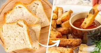 Pommes mal anders: Aus alten Brotresten lassen sich ganz einfach Brotpommes machen! Wie das Original aus Kartoffeln, schmeckt der Snack als Beilage oder kleine Mahlzeit.