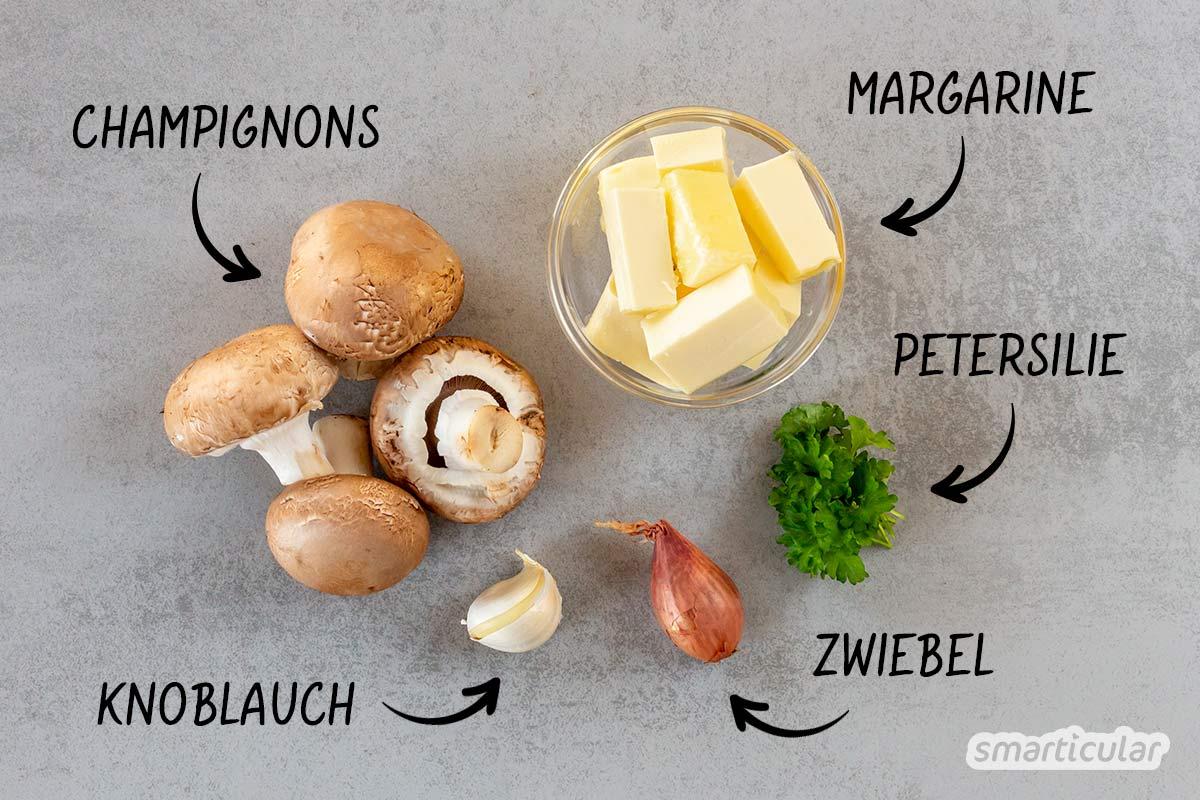 Ein würziger Champignon-Aufstrich lässt sich im Handumdrehen aus nur wenigen Zutaten selber machen.