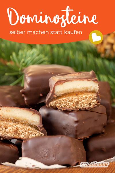 Mit diesem Dominosteine-Rezept kannst du die weihnachtliche Süßigkeit genießen, ohne ungewollte Zusatzstoffe im Fertigprodukt, und sparst noch dazu unnötige Plastikverpackungen ein.